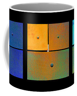Triptych Blue Orange Cyan - Colorful Rust Coffee Mug