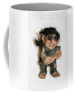 Coffee Mug featuring the sculpture Troll Fisherman by Sergey Lukashin