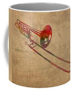 Trombone Brass Instrument Watercolor Portrait On Worn Canvas Coffee Mug