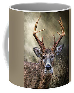 Coffee Mug featuring the digital art Trophy 10 Point Buck by Mary Almond