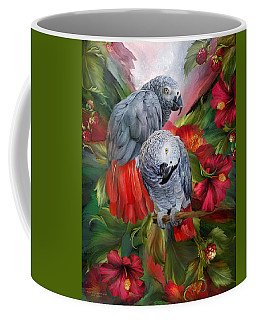 Tropic Spirits - African Greys Coffee Mug by Carol Cavalaris