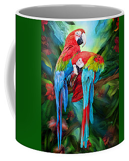 Tropic Spirits - Macaws Coffee Mug by Carol Cavalaris