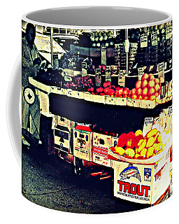 Vintage Outdoor Fruit And Vegetable Stand - Markets Of New York City Coffee Mug by Miriam Danar