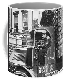 Truck Driver In His Cab Coffee Mug