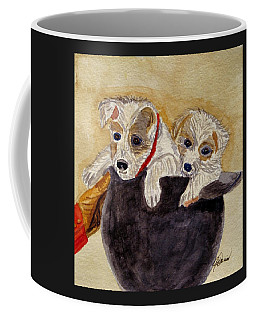 Coffee Mug featuring the painting Trump And Tillie by Angela Davies