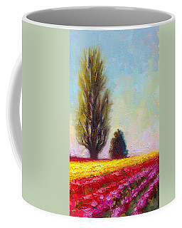 Coffee Mug featuring the painting Tulip Sentinels by Talya Johnson