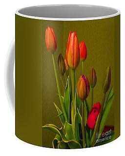 Tulips Against Green Coffee Mug