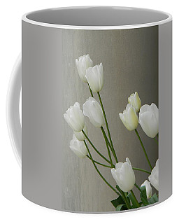Tulips Against Pillar Coffee Mug