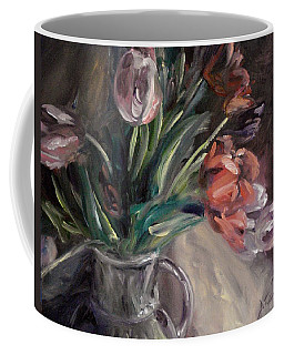 Coffee Mug featuring the painting Tulips by Donna Tuten