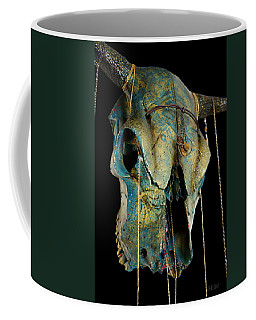 Turquoise And Gold Illuminating Steer Skull Coffee Mug