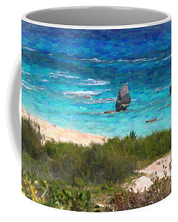 Coffee Mug featuring the photograph Turquoise Ocean And Pink Beach by Verena Matthew