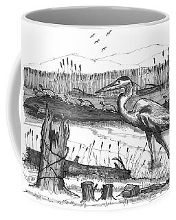 Turtles And Heron Coffee Mug