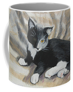 Coffee Mug featuring the painting Tuxedo Kitten by Jeanne Fischer