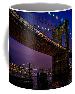 Coffee Mug featuring the photograph Twilight At The Brooklyn Bridge by Chris Lord