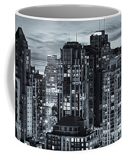 Coffee Mug featuring the photograph Twilight On Cityscape Of Vancouver Overlooking English Bay - Greeting Card by Amyn Nasser
