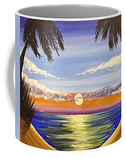 Coffee Mug featuring the painting Twin Palms by Darren Robinson