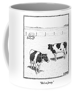 Two Spotted Cows Looking At A Jersey Cow Coffee Mug