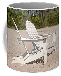 Coffee Mug featuring the photograph Two Beach Chairs by Charles Beeler