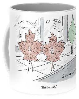 Two Brown Leaves Speak About A Green Leaf Coffee Mug