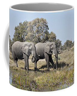 Coffee Mug featuring the photograph Two Bull African Elephants - Okavango Delta by Liz Leyden