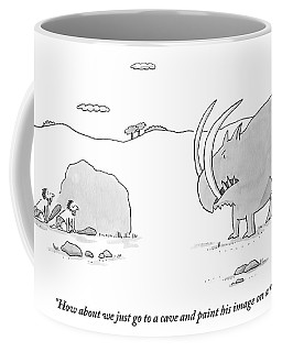 Two Cavemen Out Hunting Hide Behind A Rock Coffee Mug