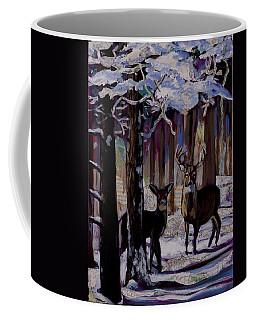 Two Deer In Snow In Woods Coffee Mug