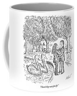 Two Ducks Observe A Man And Woman Embracing Coffee Mug