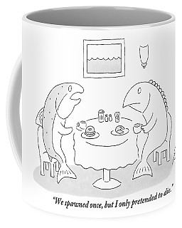 Two Fish Sit At A Table Drinking Coffee Coffee Mug