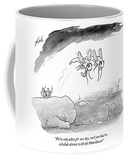 Two Formally Dressed Bugs Fly Away From A Another Coffee Mug