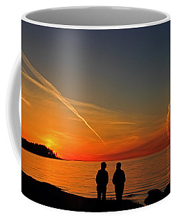 Two Friends Enjoying A Sunset Coffee Mug