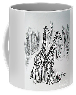 Coffee Mug featuring the drawing Two Giraffe's In Graphite by Janice Rae Pariza
