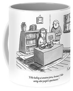 Two Guys Look At A Computer Coffee Mug