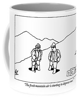 Two Hikers Are Talking To Each Other Outdoors Coffee Mug