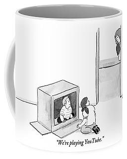 Two Kids Playing With A Cardboard Box Coffee Mug