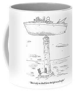 Two Lighthouse Keepers Look Up At A Boat That Coffee Mug