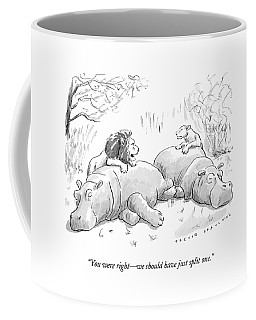 Two Lions Prepare To Dine On Two Hippopotami Coffee Mug