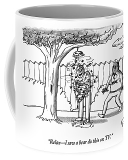 Two Men Are Seen In A Backyard Coffee Mug