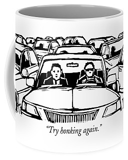 Two Men In A Car Are Stuck In Traffic Coffee Mug