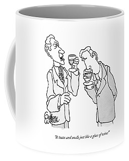 Two Men In Suits Hold Wine Glasses.  One Coffee Mug