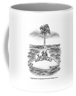 Two Men Sit On A Desert Island. One Holds Coffee Mug