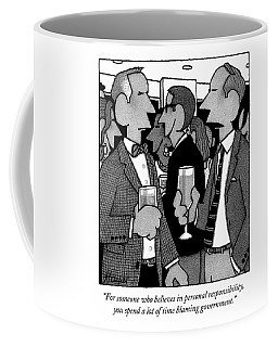 Two Men Speak At A Party Coffee Mug