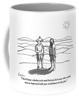 Two Men Stand In A Desert: One Is Dressed Coffee Mug