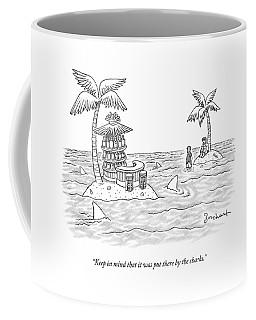 Two Men Stand On A Desert Island Coffee Mug