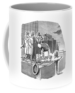Two Mobsters Stand Behind An Ostrich Coffee Mug
