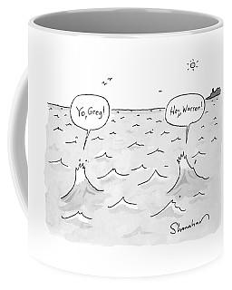 Two Ocean Waves Greet Each Other Coffee Mug