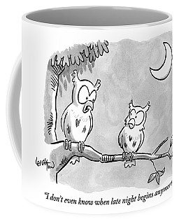 Two Owls Sit On A Tree Branch Talking To Each Coffee Mug