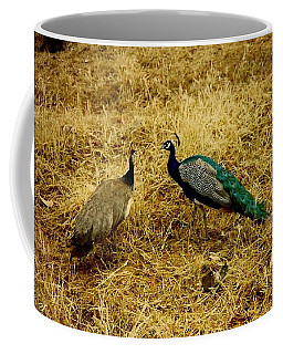 Two Peacocks Yaking Coffee Mug by Amazing Photographs AKA Christian Wilson
