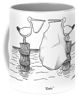 Two Pelicans Converse As The Other's Beak Coffee Mug