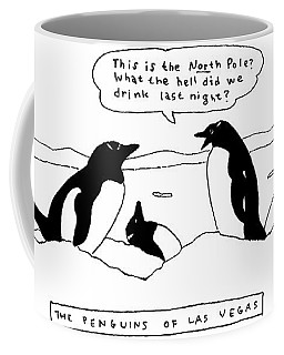 Two Penguins Are Seen Talking In The Snow Next Coffee Mug