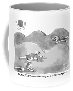 Two People Are Seen Crawling In The Desert Sand Coffee Mug